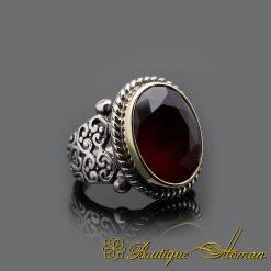 Handmade Root Ruby Silver Men Ring