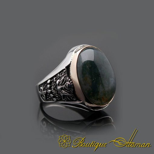 Moss Agate Oval Silver Men Ring