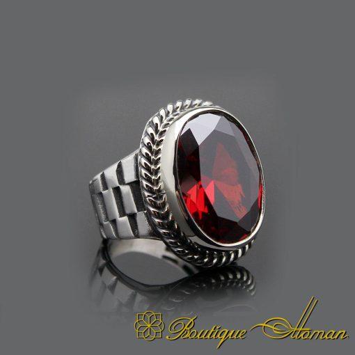 Red Garnet Handcraft Silver Men Ring