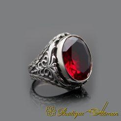 Red Garnet Oval Silver Men Ring