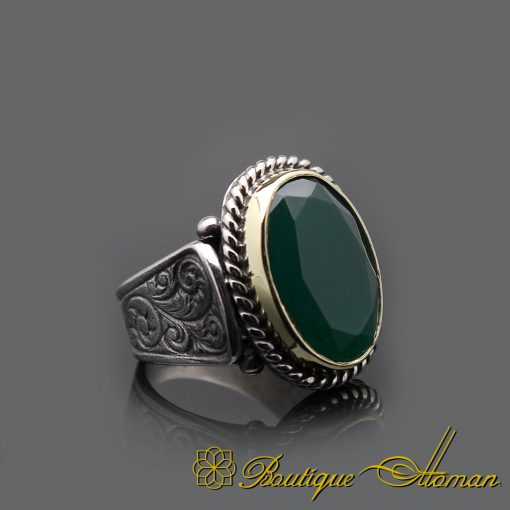 Root Emerald Hand Engraved Silver Men Ring