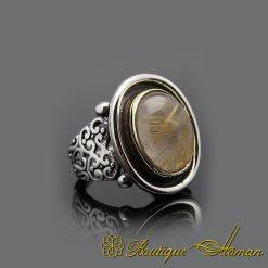 Rutilated Quartz Silver Men Ring