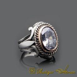 White Zircon Oval Silver Men Ring