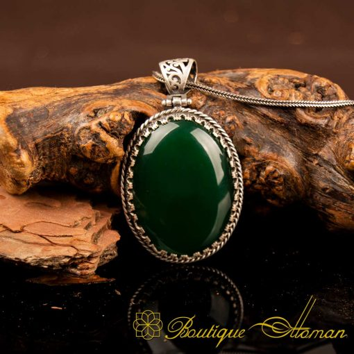 Green Aqeeq Pendant In 925 Sterling Silver