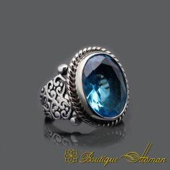 Handmade Aquamarine Silver Men Ring
