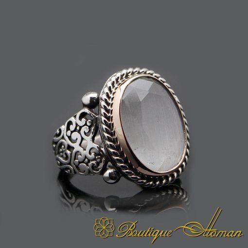 Handmade Cat's Eye Silver Men Ring