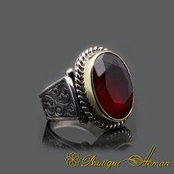 Red Garnet Hand Engraved Silver Men Ring
