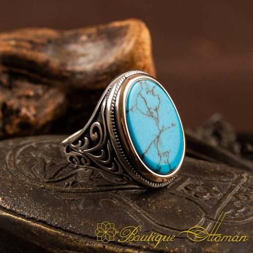 Turquoise Flat Classic Ring For Men 1