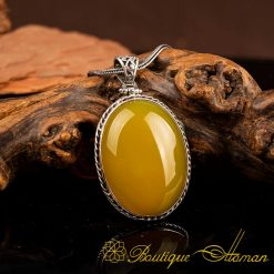 Yellow Aqeeq Pendant In 925 Sterling Silver