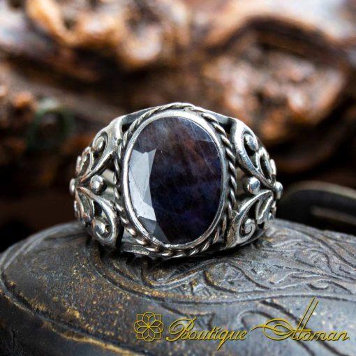 Black Sapphire Handcraft Men Ring