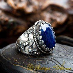 Blue Sapphire Hand Engraved Men Ring