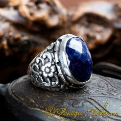 Blue Sapphire Hand Made Silver Men Ring