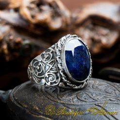 Blue Sapphire Silver Men Ring
