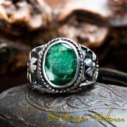 Emerald Handcraft Silver Men Ring