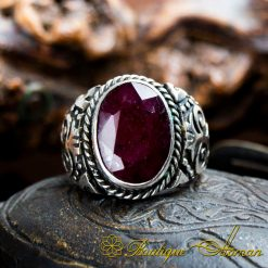 Hand Made Red Ruby Silver Men Ring