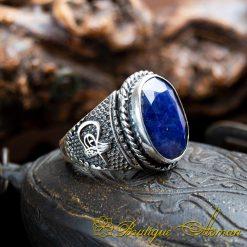 Handcraft Blue Sapphire Men Ring