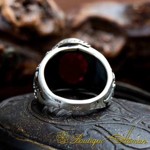 Handcraft Ruby Silver Men Ring