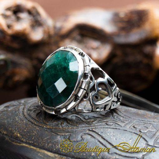 Handmade Green Emerald Men Ring