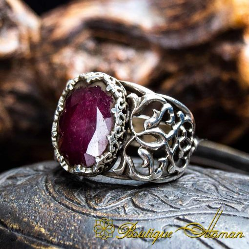 Ruby Handcraft Silver Men Ring