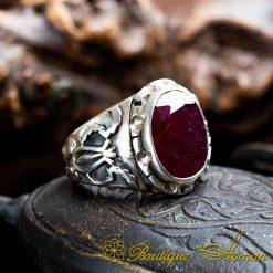 Ruby Handmade Silver Men Ring
