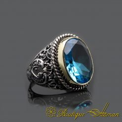 Aquamarine Handcraft Silver Men Ring