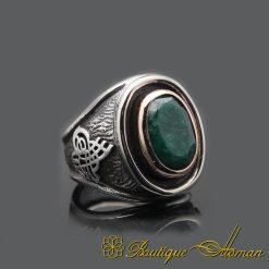 Handcraft Root Emerald Silver Men Ring
