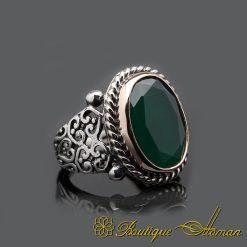 Handmade Oval Root Emerald Silver Men Ring