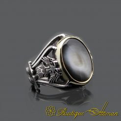 Mother of Pearl Handmade Silver Men Ring