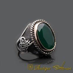Oval Root Emerald Handmade Silver Men Ring