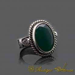 Oval Root Emerald Silver Men Ring