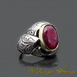 Oval Root Ruby Handcraft Men Ring