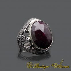 Oval Root Ruby Handmade Men Ring
