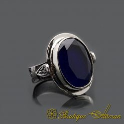 Oval Root Sapphire Silver Men Ring
