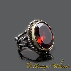 Red Garnet Oval Handcraft Silver Ring