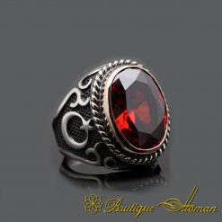 Red Garnet Silver Men Ring with Crescent Star