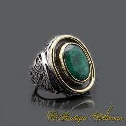 Root Emerald Hand Made Silver Men Ring