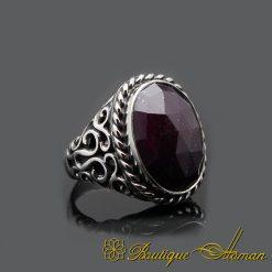 Root Ruby Handmade Silver Men Ring