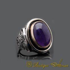 Amethyst Handmade Silver Men Ring