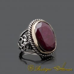 Big Size Ruby Root Handmade Silver Men Ring