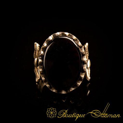 Black Aqeeq Hand Made Women Flower Ring