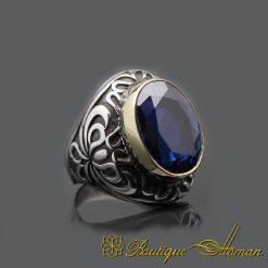 Blue Zircon Handmade Silver Men Ring