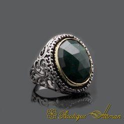Emerald Root Handmade Silver Men Ring