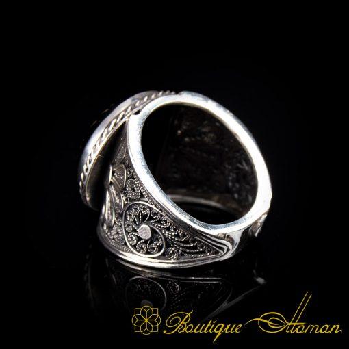 Filigree Handmade Black Aqeeq Ring with Shahada