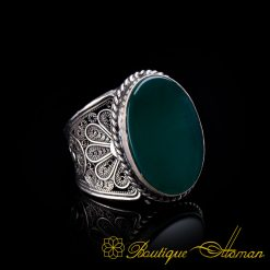 Filigree Handmade Ring with Flat Green Aqeeq