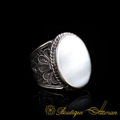 Filigree Handmade Ring with Mother of Pearl Nacre