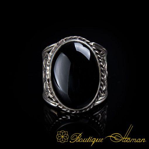 Filigree Silver Black Aqeeq Handmade Ring