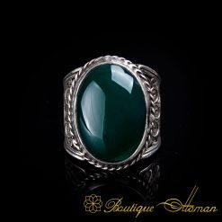 Filigree Silver Green Aqeeq Handmade Ring