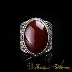 Filigree Silver Red Yemeni Aqeeq Handmade Ring