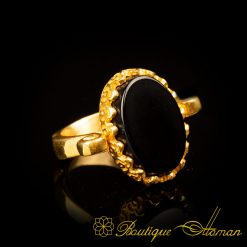 Gold Plated Black Aqeeq Hand Made Simple Women Ring