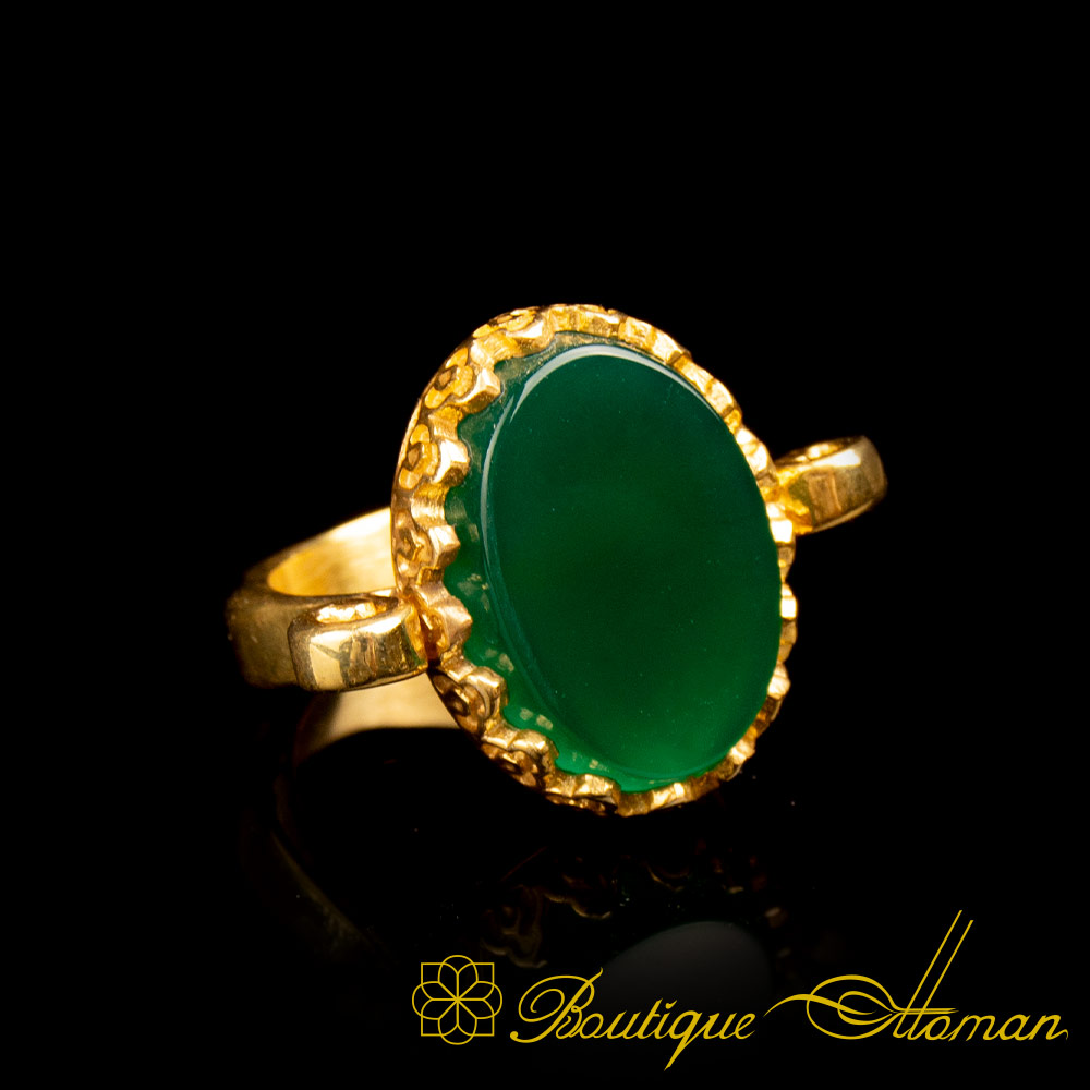 Gold Plated Green Aqeeq Hand Made Simple Women Ring